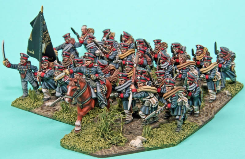 Charging landwehr infantry painted by Peter Fitzgerald