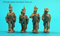F20  Four light infantry officers in assorted headgear