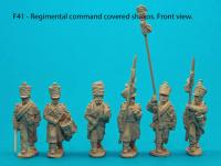 F41 – Regimental command with covered shakos.