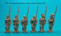 P23 Six Prussian musketeers in march-attack poses var.2