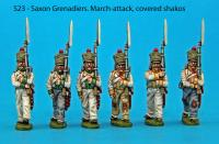S23 – 6 Saxon grenadiers in march-attack poses. Covered shakos.