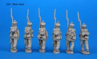 S24 – 6 Saxon grenadiers in march-attack poses. Uncovered shakos.
