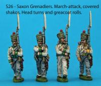 S26 – 4 Saxon grenadiers in march-attack poses. Covered shakos.