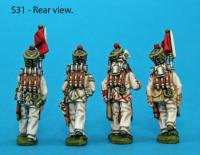 S31 - 4 Saxon grenadiers in march-attack poses. Covered shakos.