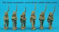 S38 - Six Saxon musketeers in march attack poses. Calfskin shako covers.