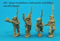 S44 - Four Saxon musketeers in march attack poses. Enthusiastic and casualty pack.