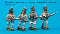 S4 - Four Saxon musketeers with covered shakos in advancing poses