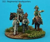 S52 – Musketeer regiment headquarters. Mounted colonel and major. Standing guard and sergeant-major.