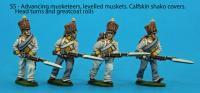 S5 - Four advancing musketeers with levelled muskets