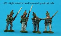 S63 - Four light infantry figures. Head turn and greatcoat roll variants.