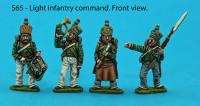 S65 - Four Light infantry figures. Command pack.