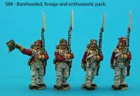 S88 - Saxon grenadier guards in march-attack poses. Bareheaded, forage cap and enthusiastic pack.