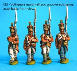 F23  Four voltiguers in march attack poses