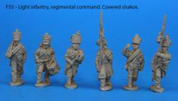 F55 – Light infantry regimental command, covered shakos.