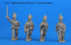 F59 – Light infantry foot officers. Covered shakos