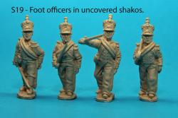 S19 - Foot officers with uncovered shakos; two with blue-grey uniforms, two with white uniforms.