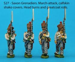 S27 – 4 Saxon grenadiers in march-attack poses. Calfskin shako covers.