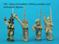 S30 - 4 Saxon grenadiers in march-attack poses.