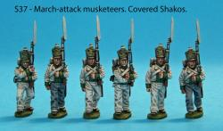 S37 - Six Saxon musketeers in march attack poses. Covered shakos.