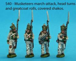 S40 - Four Saxon musketeers in march attack poses. Head turns and greatcoat rolls. Covered shakos.