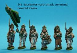S45 – Command pack. Six figures; standard bearer and two NCO guards, drummer, sapper, senior NCO. Covered shakos.