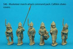 S46 - Command pack. Six figures; standard bearer and two NCO guards, drummer, sapper, senior NCO. Calfskin shako.