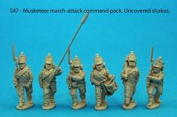 S47 - Command pack. Six figures; standard bearer and two NCO guards, drummer, sapper, senior NCO. Uncovered shakos.