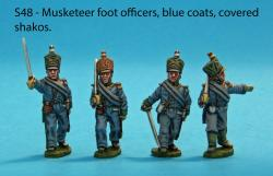 S48 – Four foot officers in blue coats. Covered shakos.