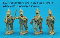 S50 – Four foot officers, two in blue coats and two in white. Uncovered shakos.
