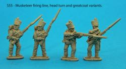 S55 – Four Saxon musketeers. Variations of figures from packs S53 and S54.