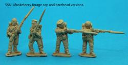 S56 – Four Saxon musketeers. Variations of figures from packs S53 and S54.