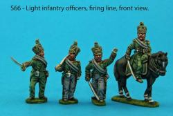 S66 - Four Light Infantry officers in firing line and skirmish poses.