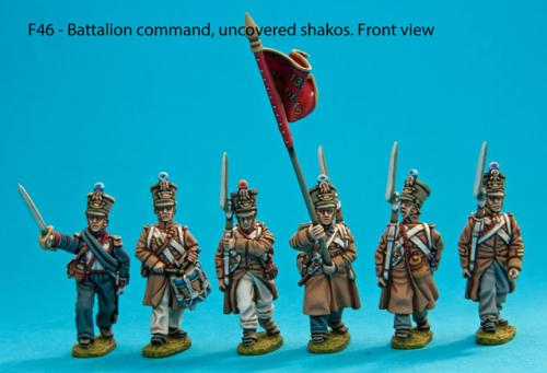 F46 – Battalion command in uncovered shakos.