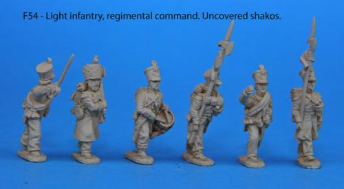 F54 - Light infantry regimental command, uncovered shakos