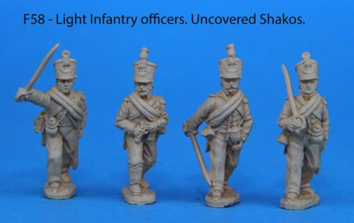 F58 – Light infantry foot officers. Uncovered shakos.