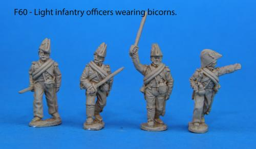 F60 – Light infantry foot officers. Bicorns.