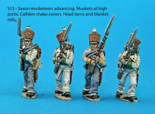 S12 - Advancing Saxon musketeers, muskets held at high porte, calfskin shako covers.