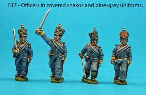 S17 - Foot officers with covered shakos, blue-grey uniforms.