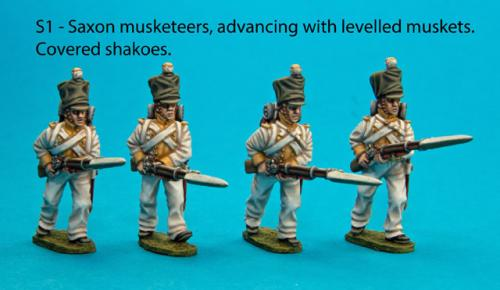 S1 Four Saxon musketeers with covered shakoes in advancing poses