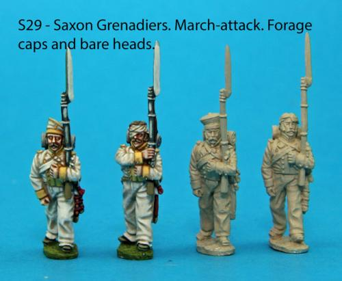S29 - 4 Saxon grenadiers in march-attack poses.