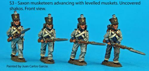 S3 Four Saxon musketeers with uncovered shakoes