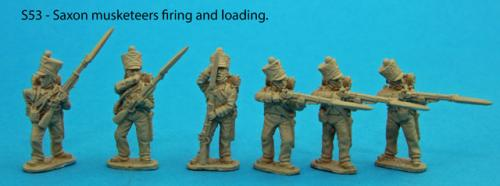 S53 – Saxon musketeer firing line. Three figures firing and three loading.