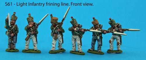 S61 Light infantry firing line and skirmish figures - 3 loading, 3 firing