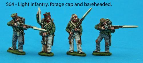 S64 - Four Saxon Light Infantry figures. Forage and bareheaded pack.