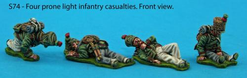 S74 - Four light infantry prone casualties.