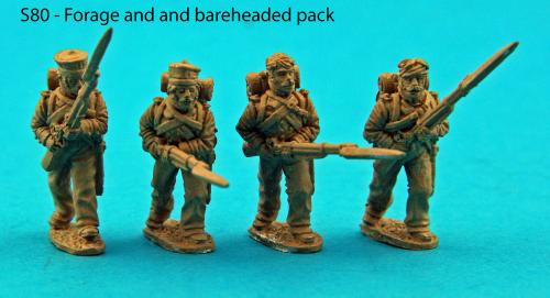 S80 - Saxon light infantry advancing. Bareheaded and forage cap pack.